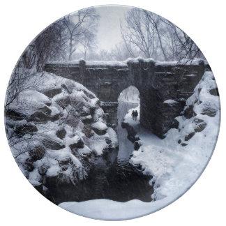 Snowyの谷間のスパンのアーチの下のカップルの歩く 磁器プレート
