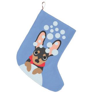 Snowyの(犬)ドーベルマン・ピンシェルのクリスマスのストッキング ラージクリスマスストッキング
