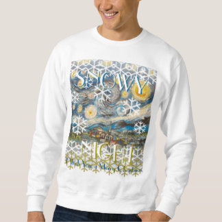 Snowy夜おもしろいなファインアートの醜いクリスマスのセーター スウェットシャツ
