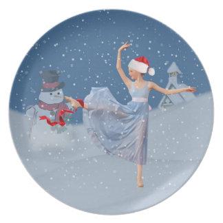 Snowy夜クリスマスのプレートのバレリーナ プレート
