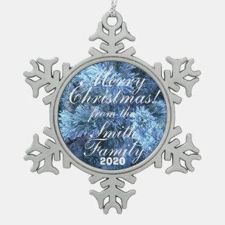 Snowy家族の挨拶のクリスマスのオーナメント スノーフレークピューターオーナメント