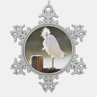 Snowy白鷺 スノーフレークピューターオーナメント