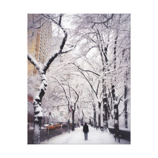 Snowy都市歩道の散歩 キャンバスプリント