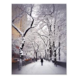 Snowy都市歩道の散歩 フォトプリント