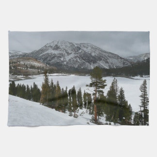 Snowy Ellery湖カリフォルニア冬の写真撮影 キッチンタオル