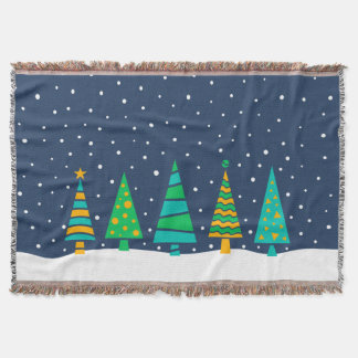 Snowy Fir Trees Throw Blanket スローブランケット