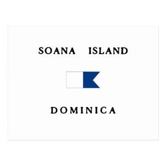 Soanaの島のドミニカのアルファ飛び込みの旗 ポストカード