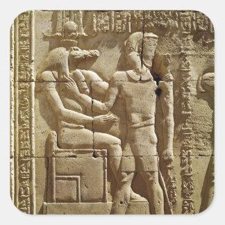 Sobekおよびクラウディオス・プトレマイオスのレリーフ、浮き彫りVI Philometor スクエアシール