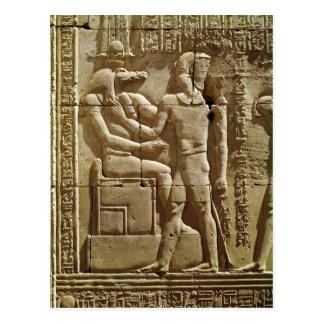 Sobekおよびクラウディオス・プトレマイオスのレリーフ、浮き彫りVI Philometor ポストカード