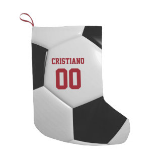 Soccer Ball Texture Personalized Stocking スモールクリスマスストッキング