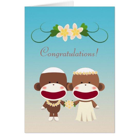 Sock Monkey Hawaiian Wedding カード