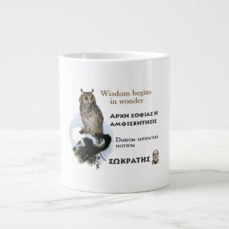 Socratesの有名な引用文-知恵は驚異で始まります ジャンボコーヒーマグカップ