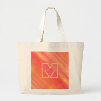 SOL黄色およびオレンジグラデーションな水彩画の芸術 ラージトートバッグ