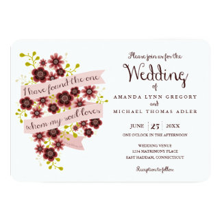 Solomonの結婚式招待状のロマンチックな花の歌 12.7 X 17.8 インビテーションカード