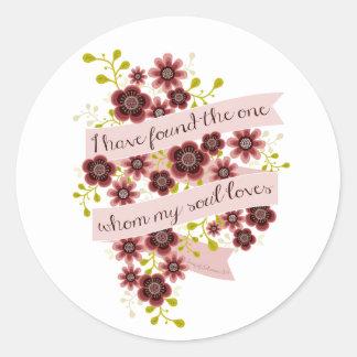 Solomon愛引用文のロマンチックな花柄の歌 ラウンドシール