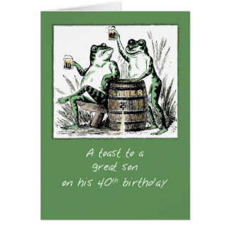 Son 40th Birthday Frogs Toasting with Beer カード