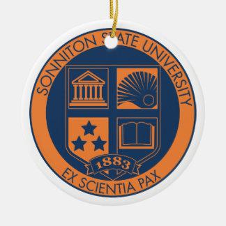 Sonnitonの州立大学のシール-海軍かオレンジ セラミックオーナメント