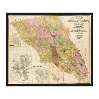 Sonoma郡、カリフォルニア(1900年)の公式の地図 キャンバスプリント