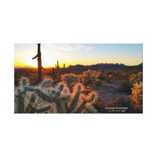 Sonoranの砂漠の景色の日没のアリゾナのサボテンの写真 キャンバスプリント