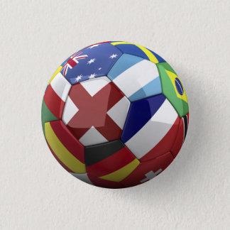 Soocerの球の世界の旗 3.2cm 丸型バッジ