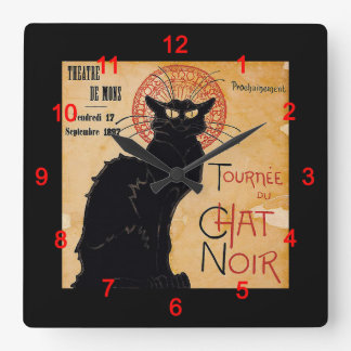 """Soon, the Black Cat Tour by Rodolphe Salis"" スクエア壁時計"