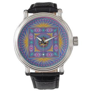Soozie Wray著素晴らしいヒマワリの曼荼羅の腕時計 腕時計