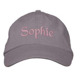 Sophieは野球帽の帽子のピンクの灰色を刺繍しました 刺繍入りキャップ