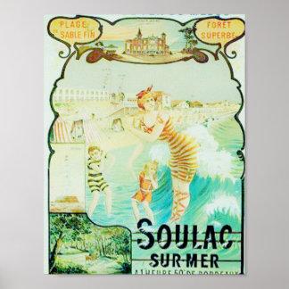 Soulacのフランスのなビーチリゾート ポスター