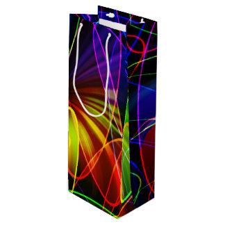 Soundwavesのネオンのフラクタル ワインギフトバッグ