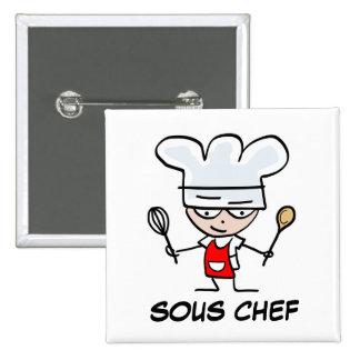 Sousのシェフのpinbackボタン 5.1cm 正方形バッジ