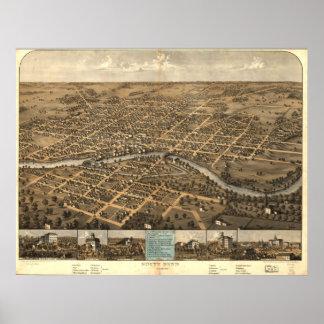 South Bendインディアナ1866の旧式なパノラマ式の地図 ポスター