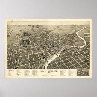 South Bendインディアナ1890の旧式なパノラマ式の地図 ポスター