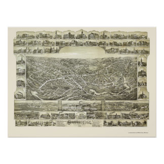 SouthbridgeのMAのパノラマ式の地図- 1892年 ポスター