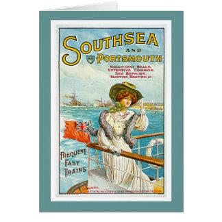 Southsea及びポーツマスのヴィンテージ旅行広告 カード