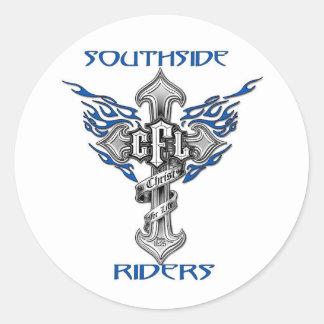Southsideのライダーのヘルメットのステッカー 丸形シール・ステッカー