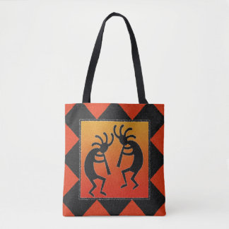 Southwest Design Kokopelli Tribal トートバッグ