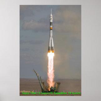 Soyuz TMA-13 Soyuz-FGの探険18の進水 ポスター