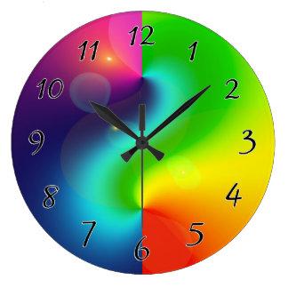 Spaceyの星雲の虹 ラージ壁時計