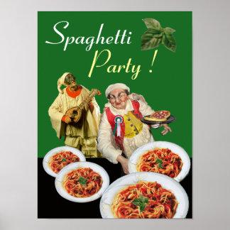 SPAGHETTI PARTY Italian Chef and Pulcinella Green ポスター
