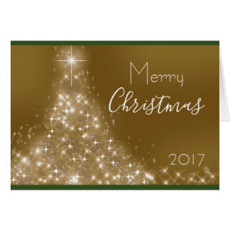 Sparkle Christmas Tree Custom Name Year Card カード