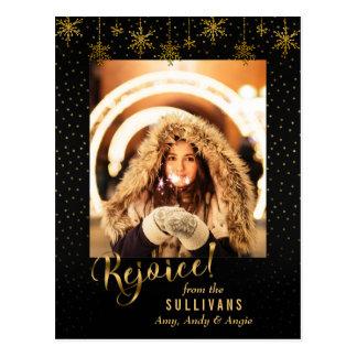 Sparkly Gold Snowflake Rejoice Photo Card ポストカード