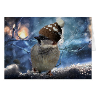 Sparrow in Snow Hat Christmas Card カード