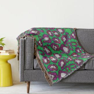 Spearmintの紫色のチータの抽象芸術 スローブランケット