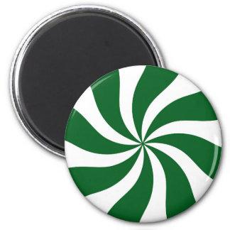 Spearmintキャンデーの渦巻の緑および白 マグネット