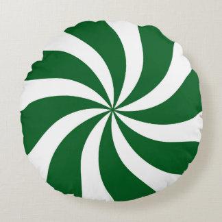Spearmintキャンデーの渦巻の緑および白 ラウンドクッション