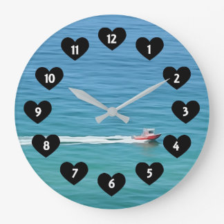 Speed Boat With Heart Wall Clock ラージ壁時計