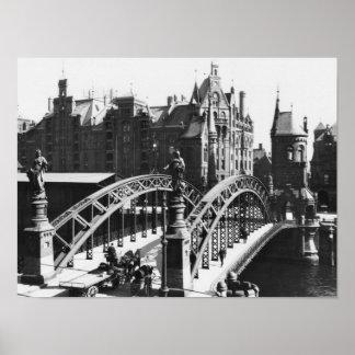 Speicherstadtハンブルク、c.1910の橋 プリント