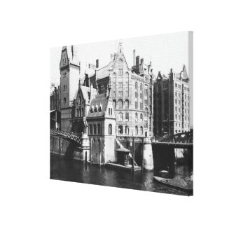 Speicherstadtハンブルク、c.1910の眺め キャンバスプリント