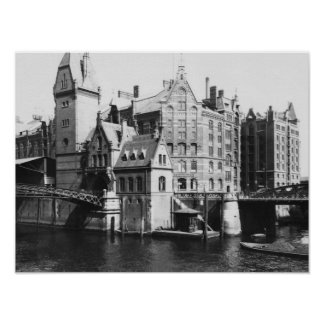 Speicherstadtハンブルク、c.1910の眺め ポスター