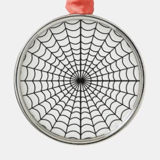 Spiderweb幽霊のよく出るなハロウィン シルバーカラー丸型オーナメント
